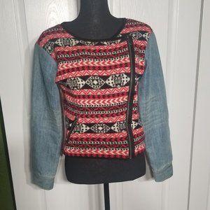 Vintage Print & Jean Sweater! 👌